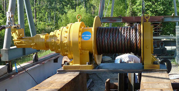 Large yellow construction winch